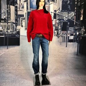 sweater cowl neck red cable knit  trim size L